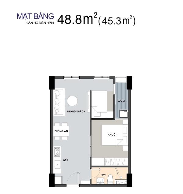 Mặt bằng căn hộ Picity High Park điển hình (diện tích 48,8m2)