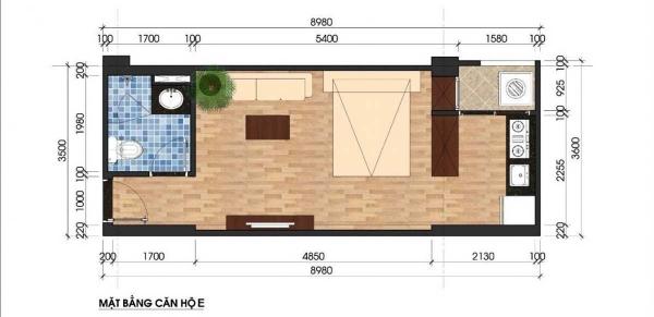 Mặt bằng căn hộ studio điển hình dự án Unico Thăng Long Bình Dương