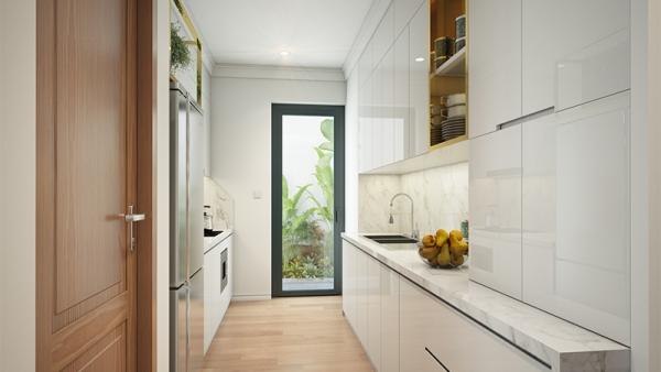 Phối cảnh không gian bếp nhà mẫu dự án Housinco Premium Hà Nội