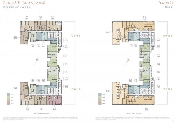Mặt bằng tầng điển hình dự án căn hộ The Marq quận 1
