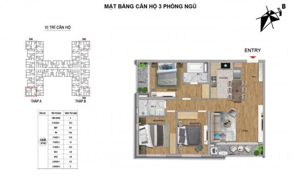 Mặt bằng căn hộ 3 phòng ngủ dự án căn hộ The Zei Mỹ Đình