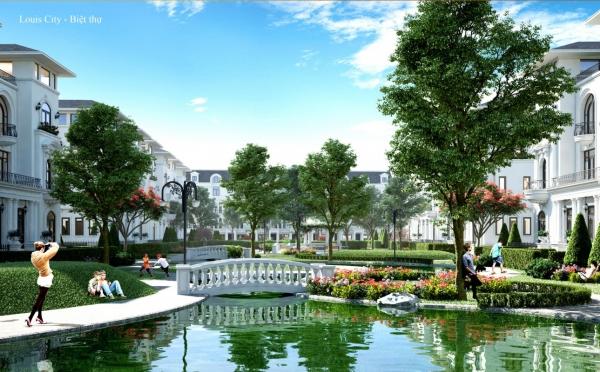 Phối cảnh hồ cảnh quan dự án khu đô thị Louis City