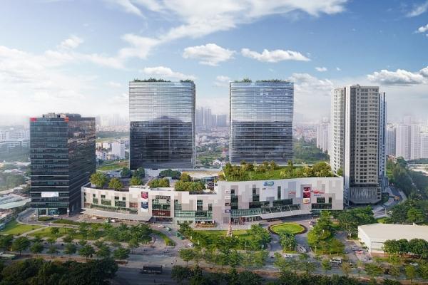 Phối cảnh 2 tòa tháp đôi V Plaza quận 7 (nằm phía sau trung tâm thương mại SC Vivo City)