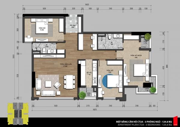 Mặt bằng căn hộ 3 phòng ngủ tòa CT2 block A dự án Iris Garden