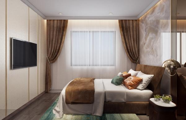 Phối cảnh phòng ngủ nhà mẫu điển hình dự án căn hộOpal Boulevard Bình Dương