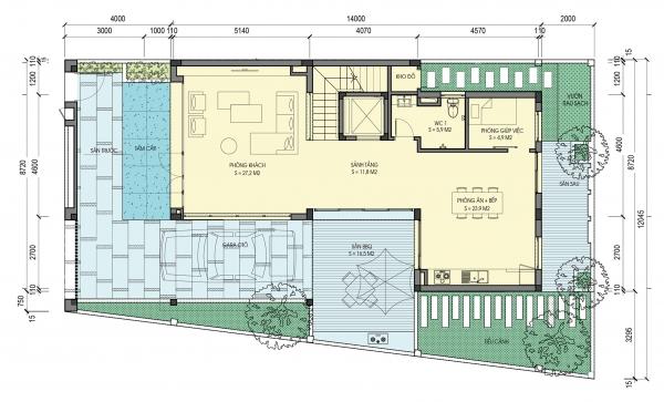 Mặt bằng tầng điển hình (tầng 1) căn biệt thự tiểu khu An Vượng Villas
