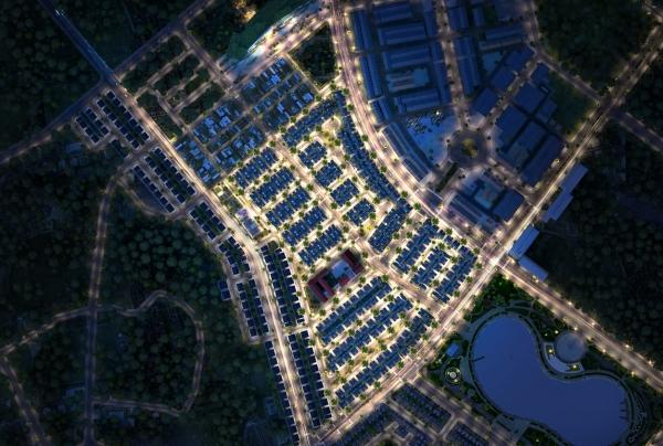 Phối cảnh tiểu khu biệt thự An Vượng Villas Hà Nội buổi đêm