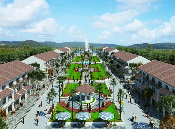 Phối cảnh tuyến phố đi bộ Sonasea Shopping Center trong tổ hợp dự án Sonasea Villas & Resort