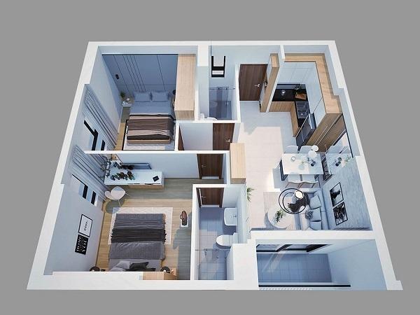 Phối cảnh 3D căn hộ mẫu 2PN tại dự án Bcons Garden