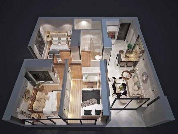 Phối cảnh 3D căn hộ mẫu 3PN tại dự án Bcons Garden