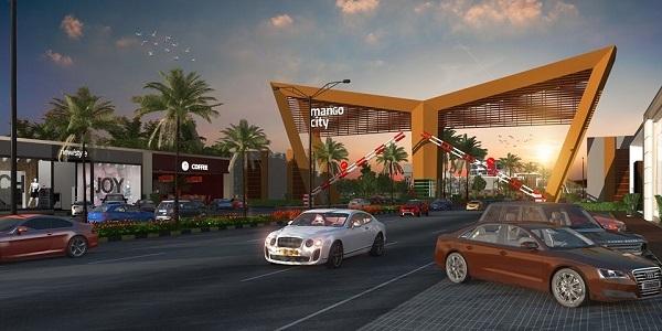 Phối cảnh đường nội khu và cổng chào dự án đất nền Mango City Cam Lâm