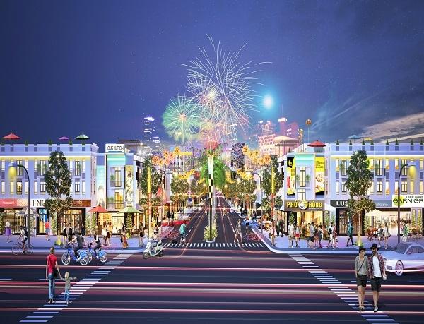 Phối cảnh khu nhà phố thương mại tại dự án khu phức hợp Hana Garden Mall