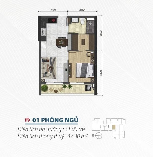 Thiết kế chi tiết căn hộ 1 phòng ngủ tại dự án Saigon Asiana