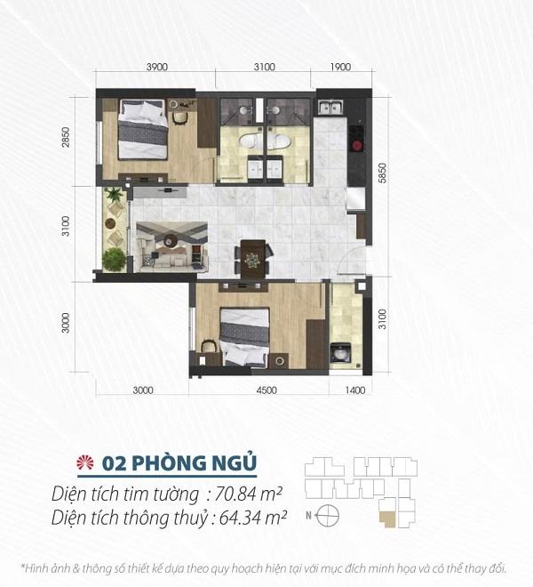 Thiết kế chi tiết căn hộ 2 phòng ngủ tại dự án Saigon Asiana