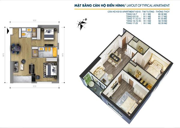 Thiết kế chi tiết căn hộ 2PN tại dự án tổ hợp khách sạn và căn hộ Hà Nội Golden Lake
