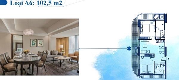 Thiết kế chi tiết căn hộ loại A6 102,5 m2
