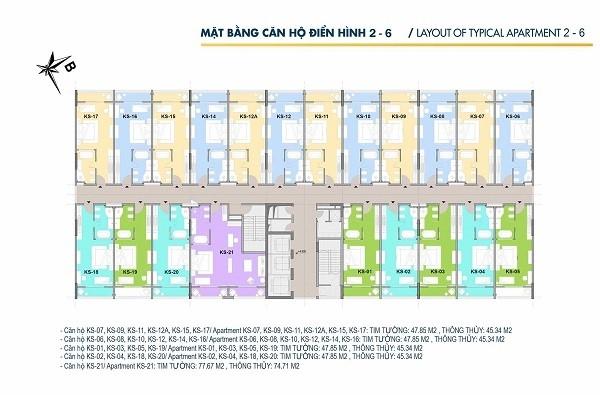 Mặt bằng căn hộ điển hình tòa CT2 tại dự án Hội An Golden Sea