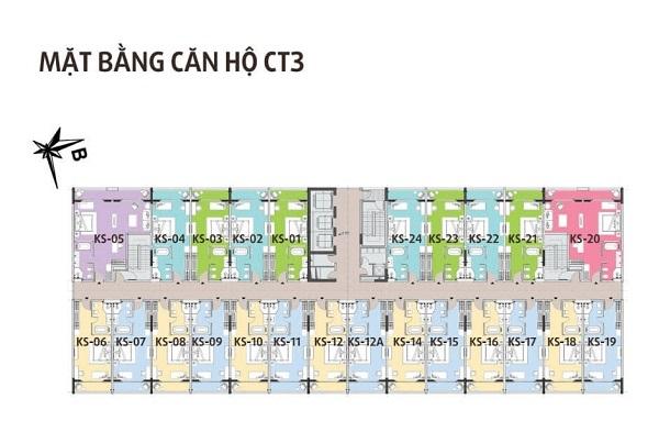 Mặt bằng căn hộ điển hình tòa CT3 tại dự án Hội An Golden Sea