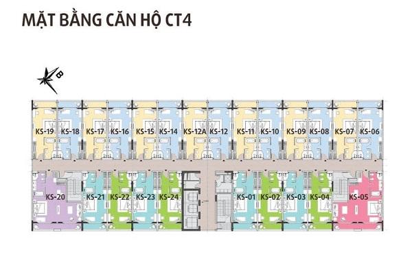 Mặt bằng căn hộ điển hình tòa CT4 tại dự án Hội An Golden Sea