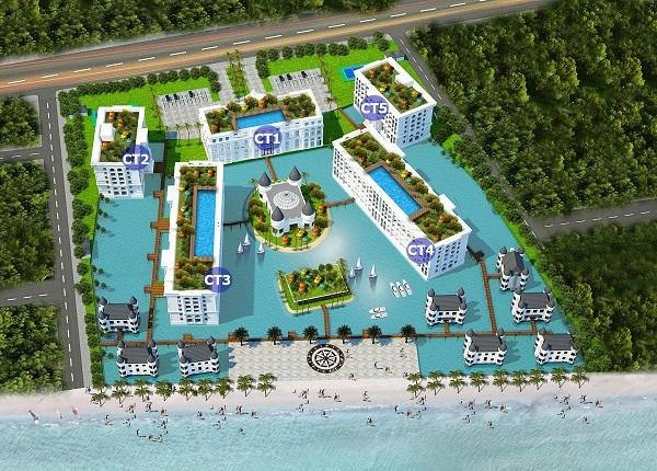 Phân khu các tòa căn hộ tại dự án tổ hợp căn hộ khách sạn Hội An Golden Sea