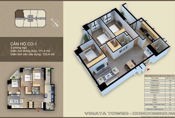 Thiết kế chi tiết căn hộ 3 phòng ngủ dự án Vinata Tower