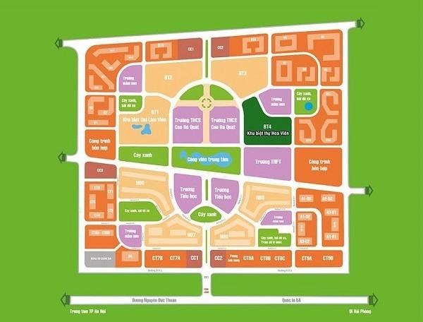 Khu biệt thự Hoa Viên nằm tại vị trí BT4 của dự án khu đô thị Ðặng Xá II
