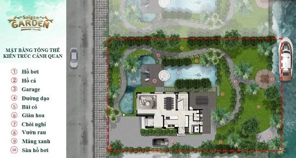 Mặt bằng tổng thể kiến trúc cảnh quan biệt thự dự án Saigon Garden Riverside Village