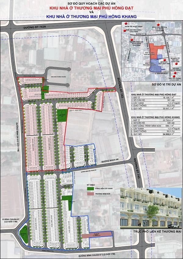 Sơ đồ phân lô dự án khu nhà ở Phú Hồng Khang và Phú Hồng Đạt