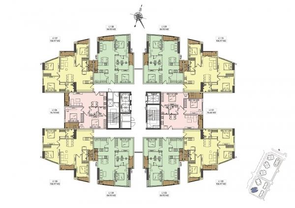 Mặt bằng điển hình tòa G1 tại dự án Le Grand Jardin