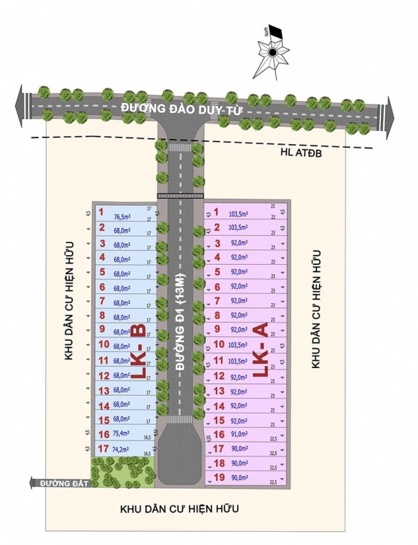 Mặt bằng tổng thể dự án nhà phố Louis Resident