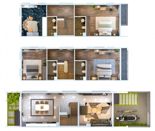 Phối cảnh chi tiết căn hộ mẫu tại dự án khu đô thị HUD Sơn Tây