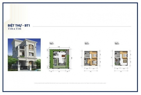 Thiết kế chi tiết căn biệt thự 121 m2 tại dự án Khu nhà ở và dịch vụ chuyên gia Quận 9