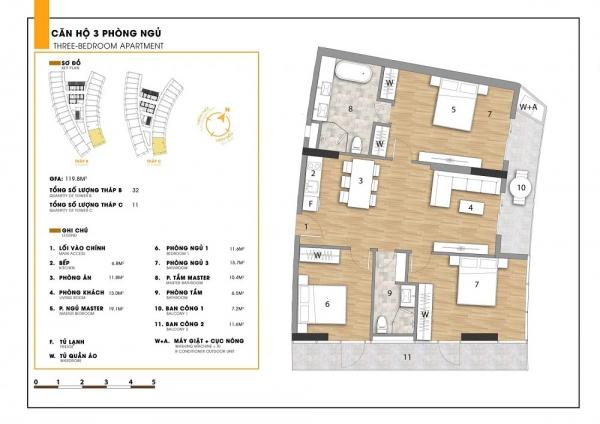 Thiết kế chi tiết căn hộ 3 phòng ngủ tại dự án Ninh Chữ Sailing Bay