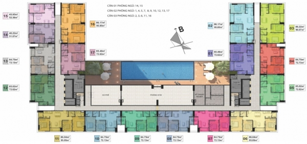 Mặt bằng căn hộ tầng điển hình dự án Phú Tài Residence