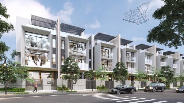 Phối cảnh các căn nhà phố và nhà phố thương mại tại dự án Qi Island