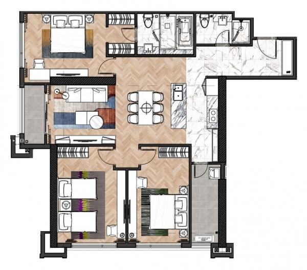 Mặt bằng chi tiết căn hộ 3 phòng ngủ tại dự án King Palace