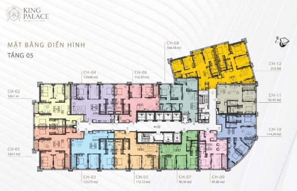 Mặt bằng điển hình tầng 5 dự án căn hộ King Palace
