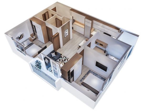 Phối cảnh căn hộ chi tiết tại dự án EcoLife Riverside