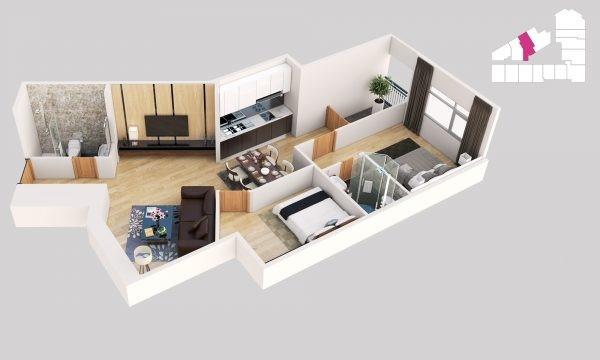 Thiết kế chi tiết căn hộ mẫu tại dự án Tháp Doanh nhân