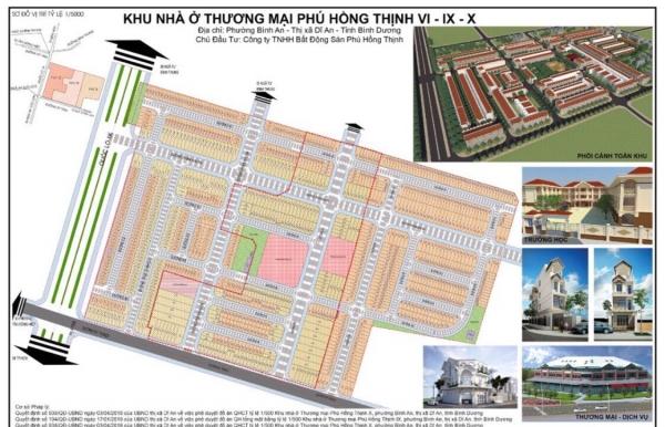 Mặt bằng tổng thể Khu nhà ở Phú Hồng Thịnh 6, 9, 10 Bình Dương