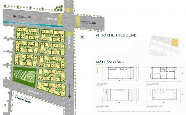 Mặt bằng tổng thể phân khu nhà phố thương mại The Sound – Thanh Long Bay